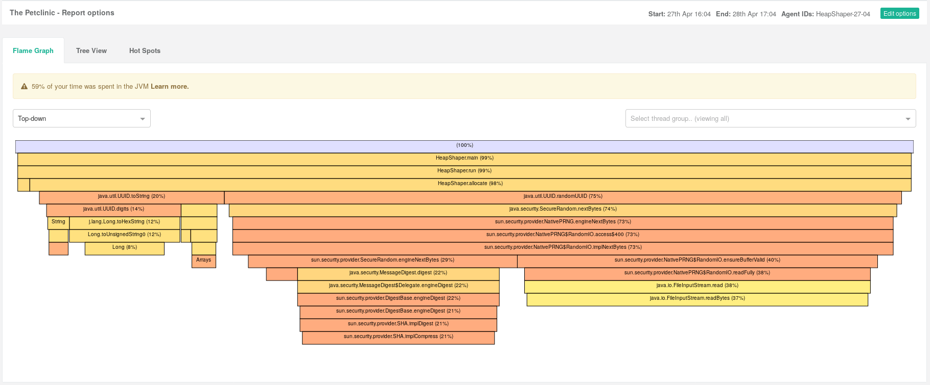Flamegraph with JVM Time